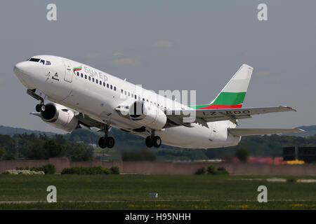 Stuttgart, Germany – May 21, 2016: Bulgarian, Boeing 737 is taking off at Stuttgart Airport - Stock Photo