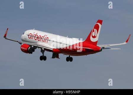 Stuttgart, Germany – May 21, 2016: Air Berlin, Airbus A320 at Stuttgart Airport - Stock Photo