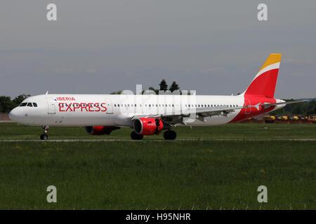 Stuttgart, Germany – May 21, 2016: Iberia Express, Airbus A321 at Stuttgart Airport - Stock Photo