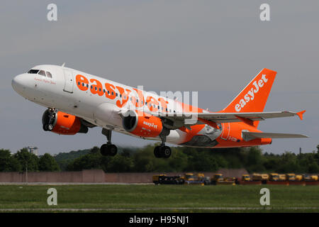 Stuttgart, Germany – May 21, 2016: EasyJet, Airbus A319 is taking off at Stuttgart Airport - Stock Photo
