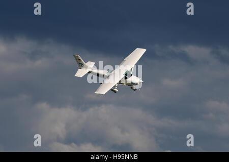Stuttgart, Germany – June 15, 2016: Hagelabwehr, Cessna F182 prop landing at Stuttgart Airport - Stock Photo