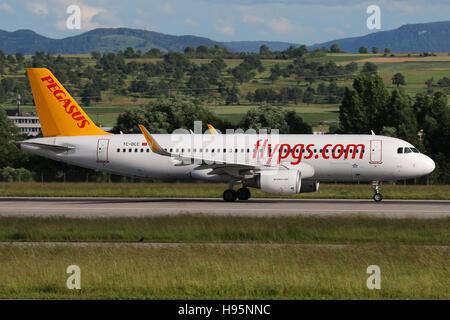 Stuttgart, Germany – June 15, 2016: Pegasus, Airbus A320 takeoff at Stuttgart Airport - Stock Photo