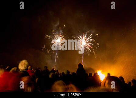 People watching a firework display on November the fifth, bonfire night - Stock Photo