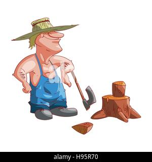 Colorful vector illustration of a cartoon farmer or redneck - Stock Photo