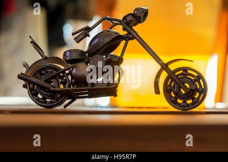 beautiful small motorcycle made from nuts and bolts - Stock Photo
