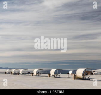 Row of shelters at picnic area, White Sands National Monument near Alamogordo, New Mexico, USA - Stock Photo