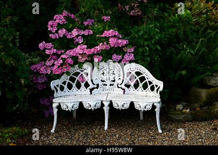 White Wrought Iron Bench Stock Photo Royalty Free Image