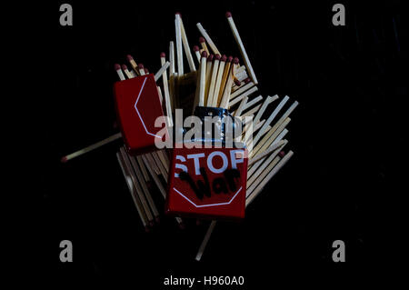 'Stop War' Zippo Lighter with Matches - Stock Photo