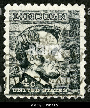 US postage stamp, Abraham Lincoln ( 1809-1865), portrait,American statesman, 16th President of the United States - Stock Photo