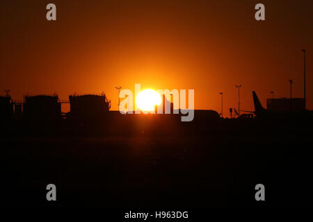 Stuttgart, Germany – June 23, 2016:  Sunset at Stuttgart Airport - Stock Photo