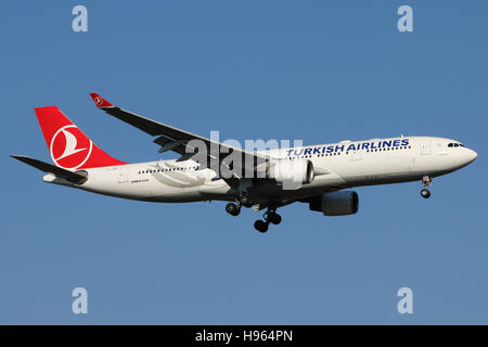 Frankfurt, Germany - February 27, 2016: Turkish Airlines, Airbus A330-200 is landing at Frankfurt Airport - Stock Photo