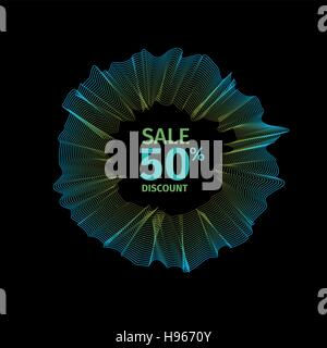 Isolated blue color abstract round shape drapery logo. Shop sale sign. Discount symbol. Wavy texture logotype. Unusual - Stock Photo