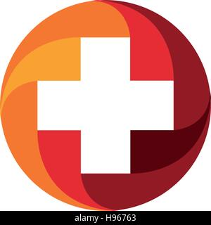 Red vector medical cross logo. Round shape logotype. Religious sign. Doctors office emblem. Ambulance label. First - Stock Photo