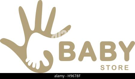 Isolated abstract beige baby foot in adult hand logo. Negative space logotype. Kids shoes store icon. Family sign. - Stock Photo