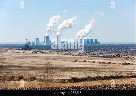 Nochten open-cast coal mine and Boxberg power plant, Görlitz district, Saxony, Germany, Europe - Stock Photo