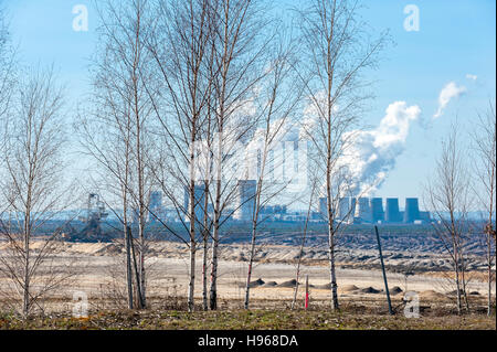 Nochten open-cast coal mine and Boxberg power plant, Görlitz district, Saxony, Germany, Europe - Stock Photo