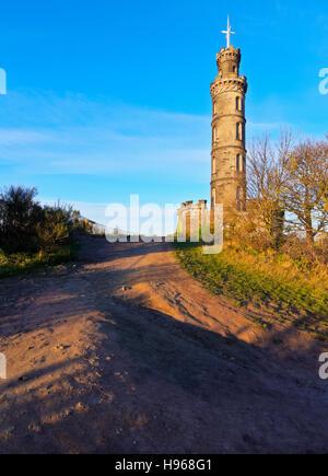 UK, Scotland, Lothian, Edinburgh, Calton Hill, View of the Nelson Monument. - Stock Photo