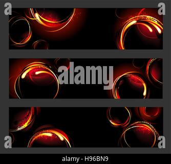 three banners with fiery , hot circles on a black background - Stock Photo