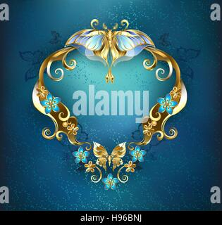 patterned banner, decorated with gold and gold flowers and butterflies on a blue background. - Stock Photo