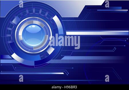 chrome abstract movement with blue transparent lens on a dark blue background. - Stock Photo
