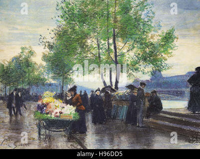Victor Gabriel Gilbert   Books Sellers on the Banks of the Seine - Stock Photo
