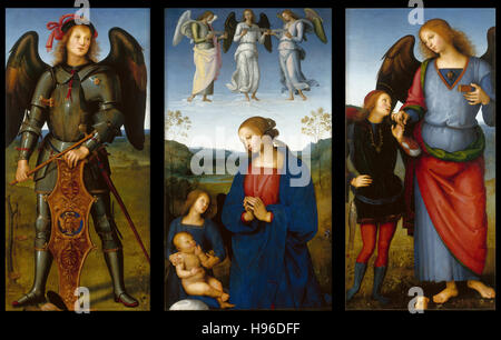 Pietro Perugino -  Three Panels from an Altarpiece, Certosa - 1496 - Stock Photo