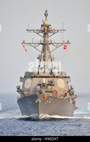 The USN Ticonderoga-class guided-missile destroyer USS Bulkeley steams underway June 12, 2011 in the Gulf of Aden. - Stock Photo