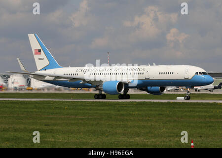 Stuttgart, Germany – May 04, 2016:  US Air Force, Boeing 757-200 at Stuttgart Airport - Stock Photo