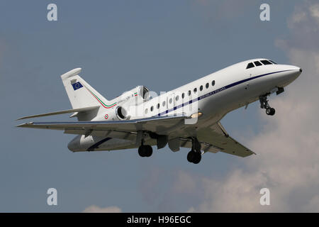 Stuttgart, Germany – May 04, 2016:  Private, Dassault Falcon is taking off at Stuttgart Airport - Stock Photo