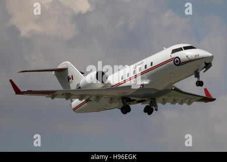 Stuttgart, Germany – May 04, 2016: Canadian Government Privatjet is taking off at Stuttgart Airport - Stock Photo