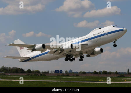 Stuttgart, Germany – May 04, 2016: US Air Force, Boeing E-4B is taking off at Stuttgart Airport - Stock Photo