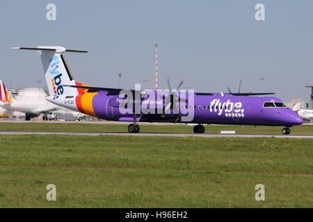 Stuttgart, Germany – May 05, 2016: Flybe, Bombardier Dash Q400 at Stuttgart Airport - Stock Photo
