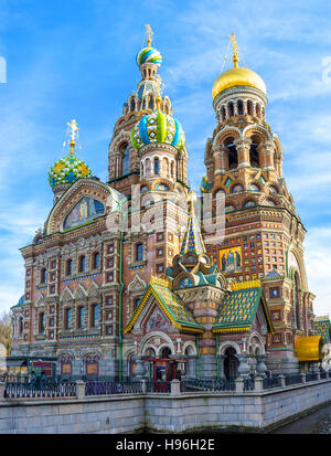 The medieval Romantic Nationalism of the Church of the Savior on Spilled Blood is very unusual for  Baroque and - Stock Photo