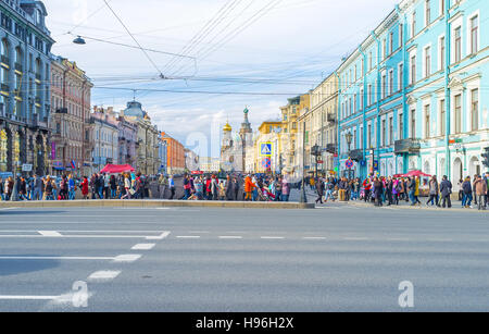 The view from the Nevsky Prospekt on Church of the Savior on Spilled Blood located along the Griboedov Canal - Stock Photo