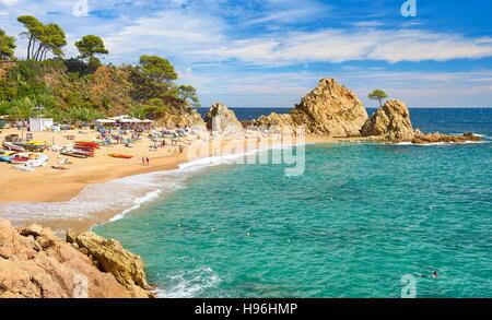 Platja de la Mar Menuda, Tossa del Mar, Costa Brava Beach, Catalonia, Spain - Stock Photo
