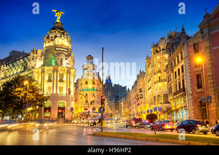 Metropolis building at evening, Gran Via, Madrid, Spain - Stock Photo