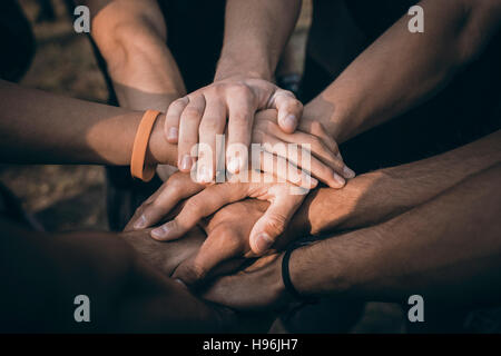 Teamwork Join Hands Support Together Concept. Sports People Joining Hands. - Stock Photo