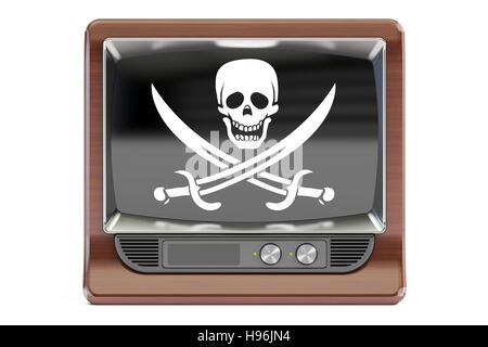 Piracy concept, 3D rendering. TV set with pirate flag  isolated on white background - Stock Photo