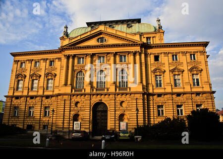 National Theater in the evening in Zagreb, Croatia - Stock Photo
