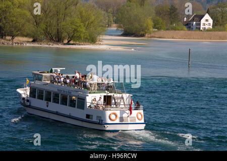 Excursion ship on the Rhine river, view of Werd island, Stein am Rhein, Lake Constance, Canton Schaffhausen, Switzerland - Stock Photo