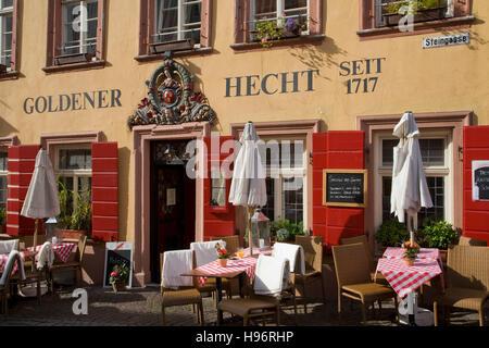 Goldener Hecht restaurant hotel, Heidelberg, Baden-Wuerttemberg, Germany - Stock Photo