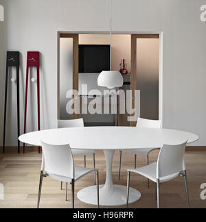 Interior View Of A Modern Living Room In The Foreground Dining Table Overlooking On