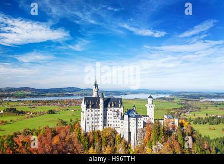 Neuschwanstein Castle in autumn. Landmark of Germany and Bavaria. Beautiful german landscape - Stock Photo