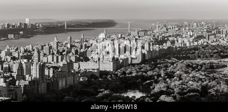 Black and White Panoramic elevated view of Central Park, Upper West Side with the George Washington Bridge. New - Stock Photo