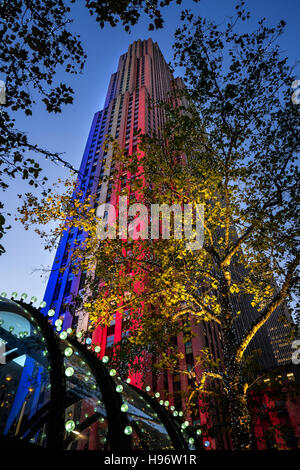 Rockefeller Center illuminated in red, white and blue at twilight. Midtown Manhattan, New York City - Stock Photo