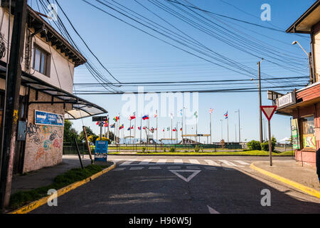 Streets of Puerto Montt Chile - Stock Photo