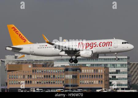 Stuttgart, Germany – February 26, 2016: Pegasus, Airbus A320 is landing at Stuttgart Airport - Stock Photo