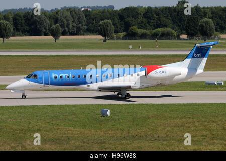Munich, Germany - August 08, 2016: BMI Regional Embraer ERj-145, at Munich Airport - Stock Photo