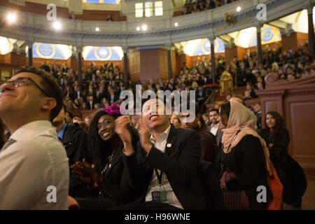 Students attending the closing awards ceremony of OxIMUN in the Sheldonian Theatre ini Oxford. From a series of - Stock Photo