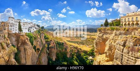 Ronda - El Tajo Gorge Canyon, view from Puente Nuevo Bridge, Spain - Stock Photo